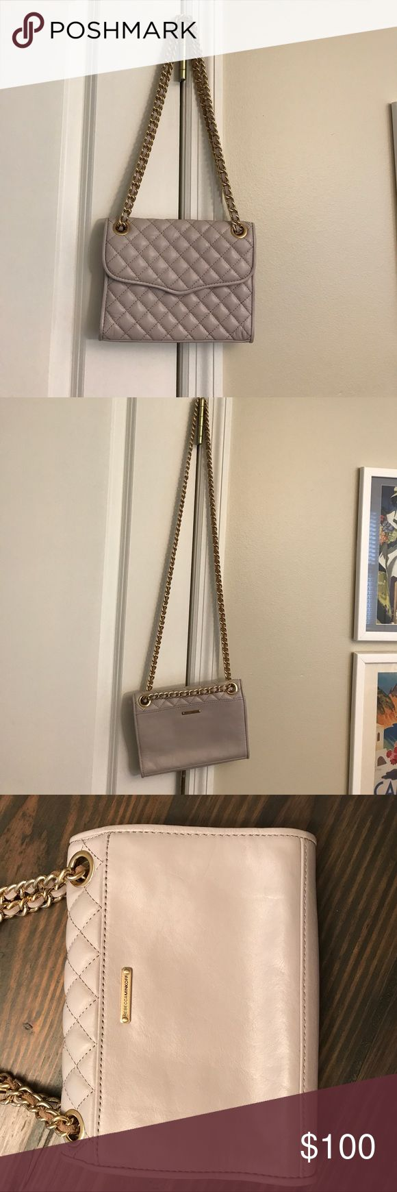 Gray Taupe quilted leather Rebecca Minkoff purse Grey taupe convertible authentic Rebecca Minkoff purse. Gold chain can be long for crossbody or short for shoulder bag. Lightly used. No visible signs of wear and tear. 1 interior pocket. Rebecca Minkoff Bags Shoulder Bags