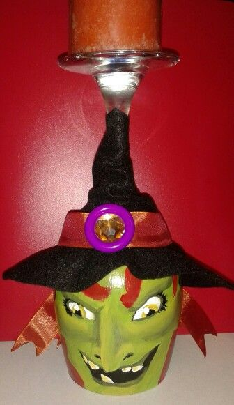 Hand painted wine glass Witch candle holder!