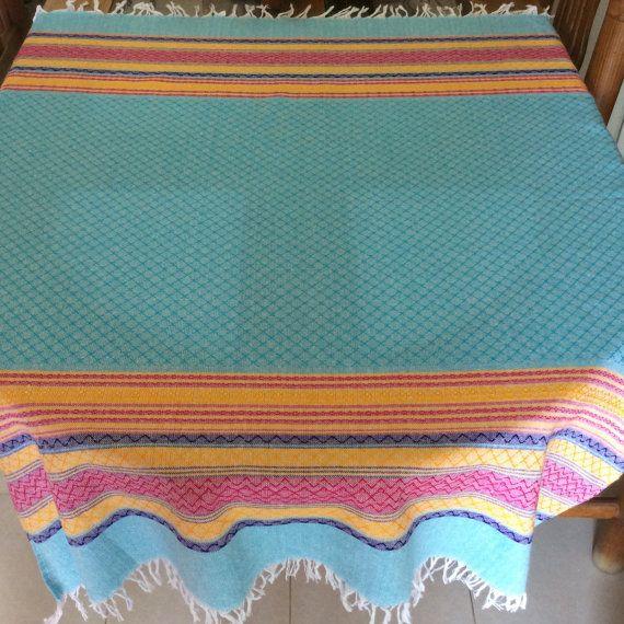 Mexican tablecloth  blue por AmorcitoCorazonMX en Etsy