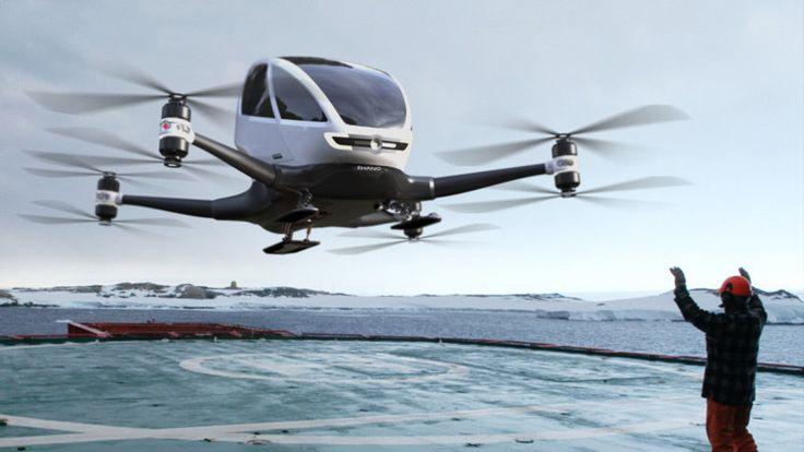 <p>09/01/2016/ehang.com El modelo Ehang 184 fue presentado durante una convención de tecnología en Las Vegas. El dron es similar a un helicóptero que se conduce solo hasta el punto de aterrizaje indicado. Los problemas de tránsito ya no existirán para quienes…</p>