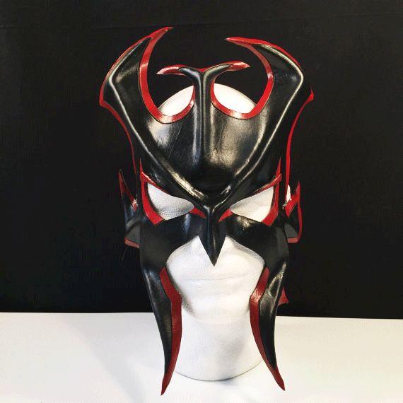 Black & Red Gladiator Leather Mask