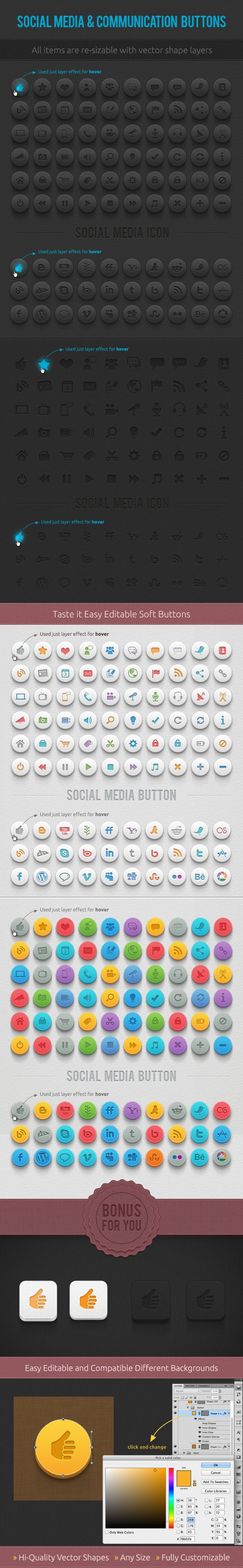 DOWNLOAD PSD: This is a set of 60 communication and 30 social media buttons. There are 360 icons and bonus PSD in 4 different button design!  Very organized name of PSD files, so you can easily change colors or go any size…  Included Files 4 PSD files communication buttons 4 PSD social media buttons 2 Bonus PSD  #UI #UX #PSD #vector #design #web #icons #buttons #social #media #communication #icondesign #socialmedia #free #webdesign
