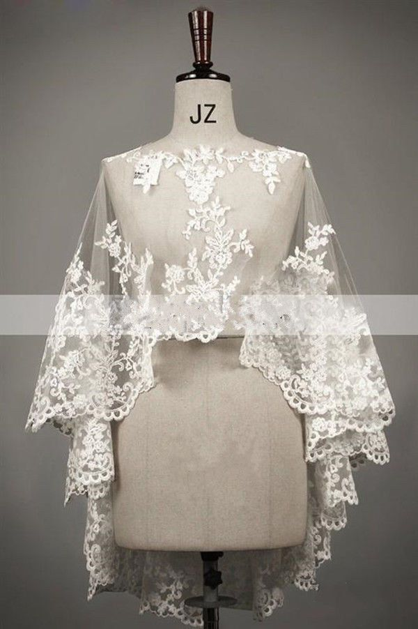 New Wedding Ivory / White Lace Bolero Shrug Bridal Jacket S M L XL XXL XXXL