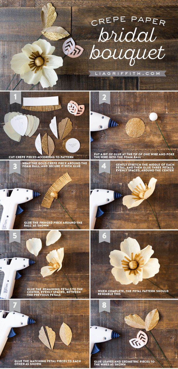 For the crafty bride, a crepe paper wedding bouquet complements any dress. Courtesy of Lia Griffith, this step-by-step visual guide will show you how to craft your own bouquet with ornate and delicate crepe paper. Click in to learn more!