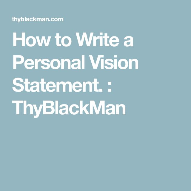 sample personal vision statements