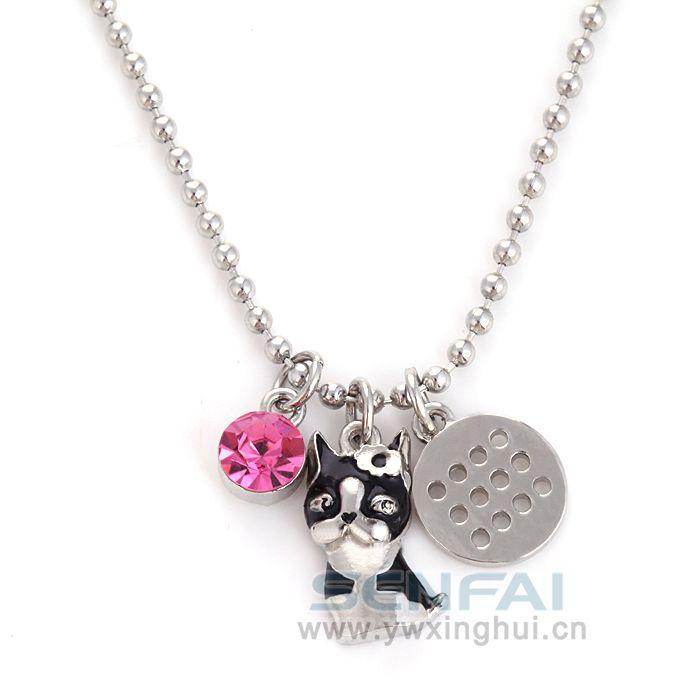 Изысканные серебряные милый кот брелок кулон ожерелье, крошечный диск шарм ожерелье подарок мама подарок на день рождения лучший друг подарок на день рождения сестра