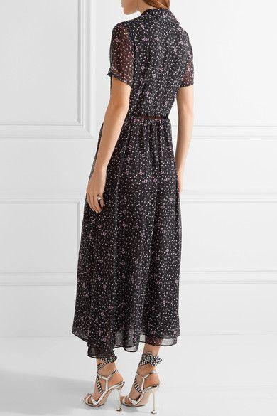 Sandy Liang - Picasso Printed Chiffon Midi Dress - Black - FR