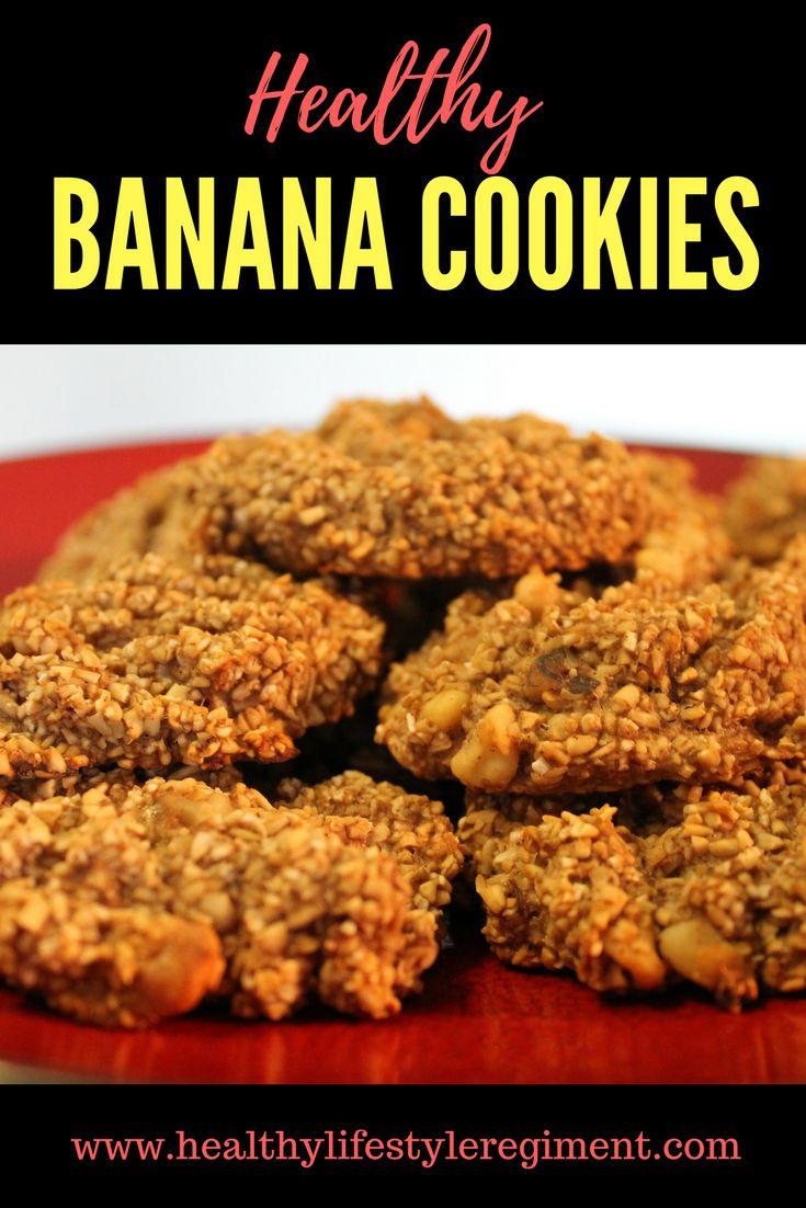 Get Recipe for Healthy Banana Cookies. No Added Sugar, No Flour, No Dairy.  #Vegan Cookies, #Healthy Snacks, #Breakfast recipe, #Sugarfree #dairyfree