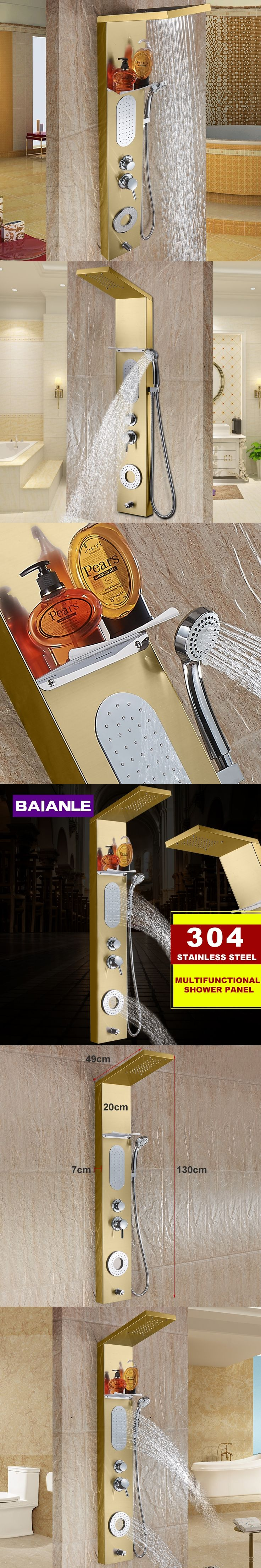 New Waterfall gold Fashion Luxury Shower Column Shower Panel Hand Shower Massage Jets Stainless steel Plate Shower Faucet