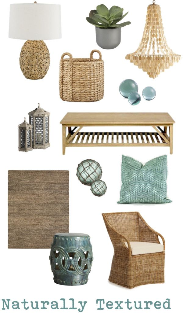 Naturally Textured | Coastal chic decor mood board