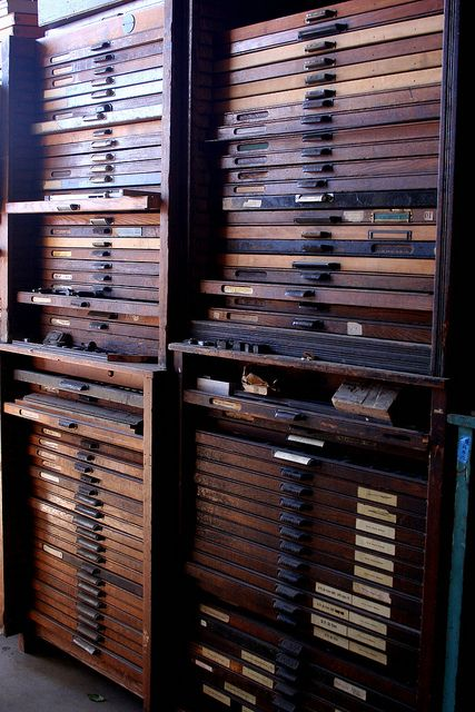 LA Printers Fair - drawers and drawers of type at the International Printing Museum, photo by paper pastries, via Flickr