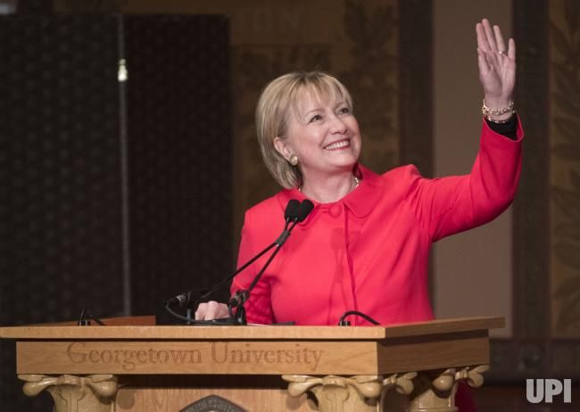 Former secretary of state Hillary Clinton delivers remarks before awarding the annual Hillary Rodham Clinton Awards for Advancing Women in…