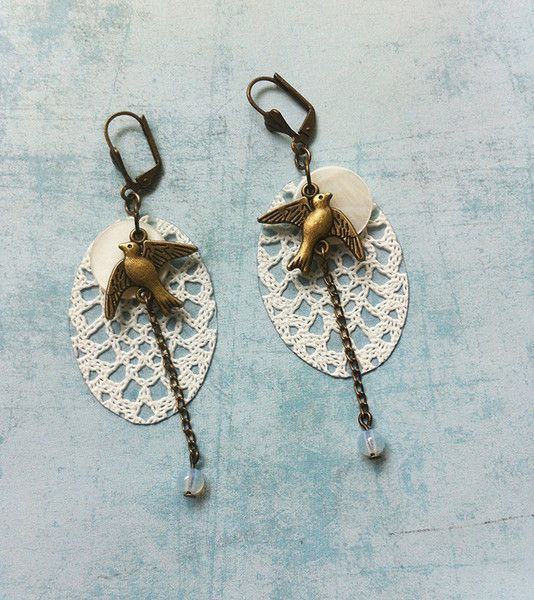 Dangle Earrings – Boho lace earrings 216-1-1 dangle and drop – a unique product by Carla-Amaro on DaWanda
