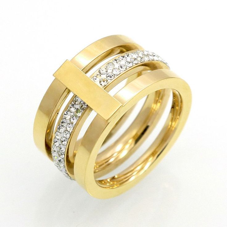 Three Layered Cubic Zirconia Ring