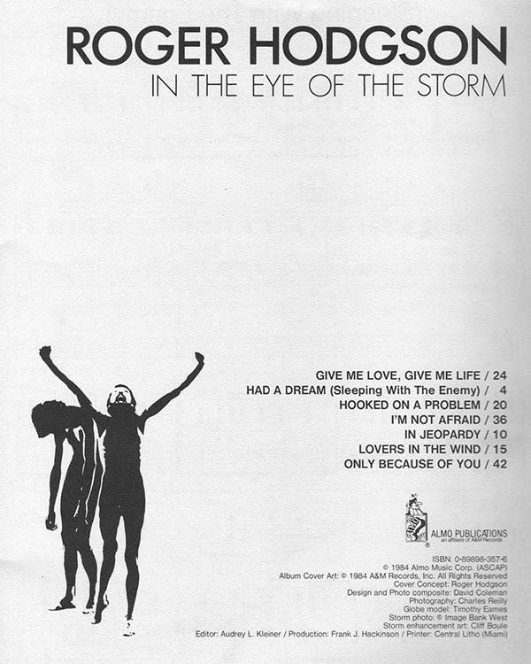 Songbook In The Eye Of The Storm By Roger Hodgson Eye Of The Storm Roger Hodgson All Songs