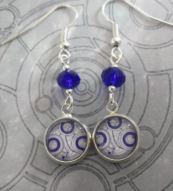 Doctor Who earrings - Seal of the Time Lords in blue