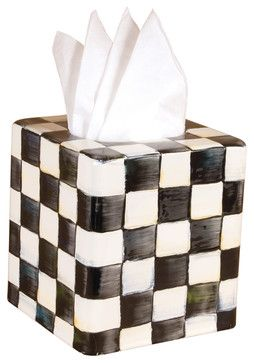 Courtly Check Enamel Tissue Box Cover | MacKenzie-Childs eclectic-bath-and-spa-accessories