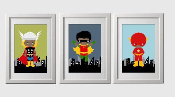 Superheld kunst aan de muur donkere huid plukken elke 3