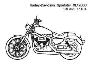 , Harley Davidson Sportster XL1200C Motorcycle Coloring