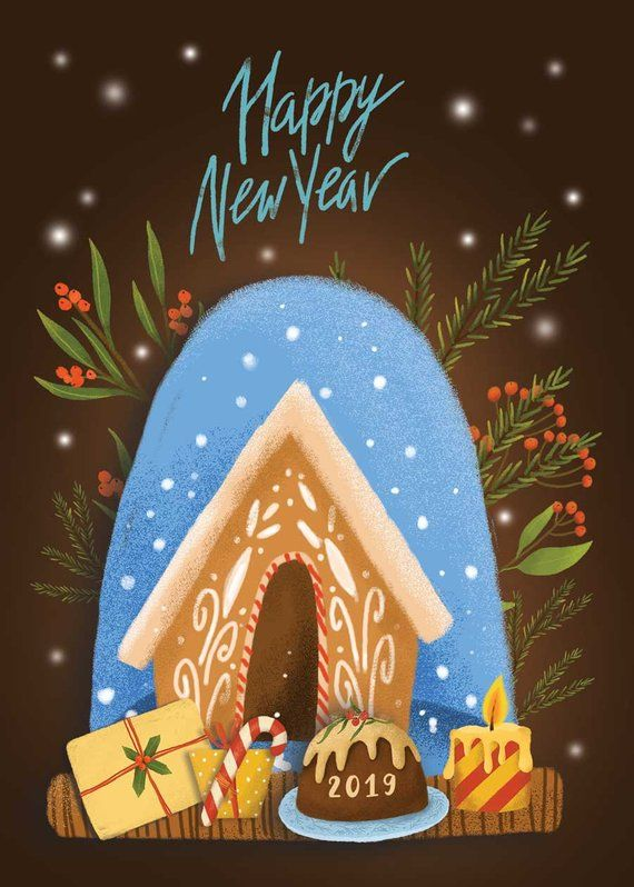 happy holiday happy new year digital cards new year card etsy