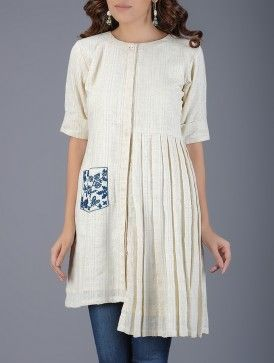 Ivory Pleated Handwoven Khadi Tunic with Embroidered Pocket