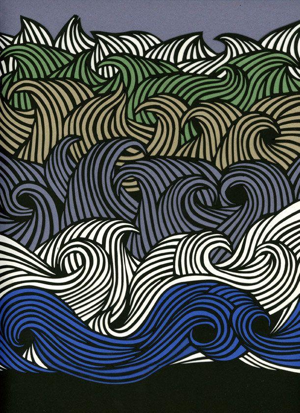 Sea - Petra Borner: Graphics Art, Pattern, Illustration, Graphics Design, Fmarti Buckets Image, Petra Börner, Fingers Waves, Waves Art, Petra Borner