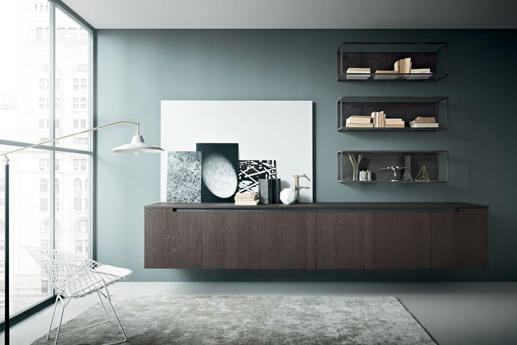Zampieri - #Fifty living in sanded burnt oak with metal finished metal-made elements.