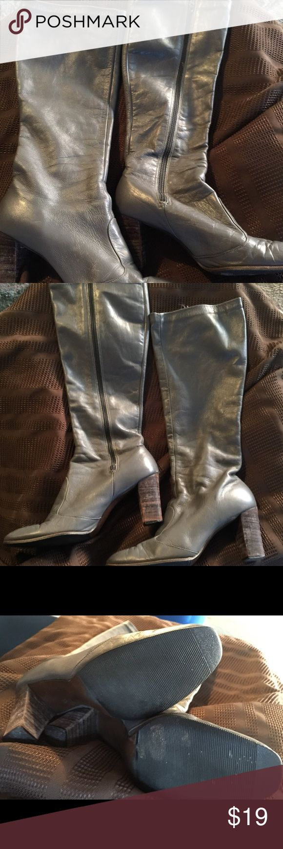 Vintage gray leather boots by Joyce Fun, vintage grey leather boots. Size 7 Joyce California Shoes Heeled Boots