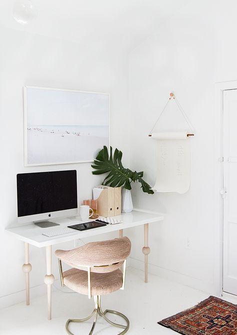 Minimal, bohemian desk space.