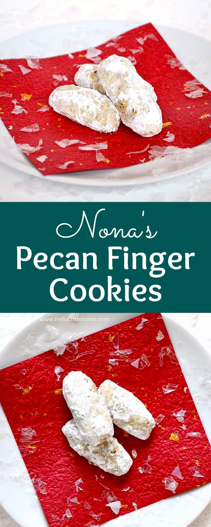 Nona's Pecan Finger Cookies ... learn how to make this traditional pecan fingers cookie recipes that's been handed down for generations! These classic Pecan Cookies feature a buttery, pecan filled dough that gets rolled in powdered sugar after it's baked. Sometimes called Pecan Crescent Cookies, Lady Fingers, or even Nutty Fingers, these Christmas cookies are a hit every holiday season. | Hello Little Home #christmascookies #christmasrecipes #CookieRecipe #pecancookies #cookies…
