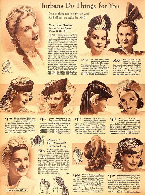 1940 - turbans and veiled hats. Upper right, Mrs. Allen! (yeah, I know, '40s, but Mrs. Allen was then too!)