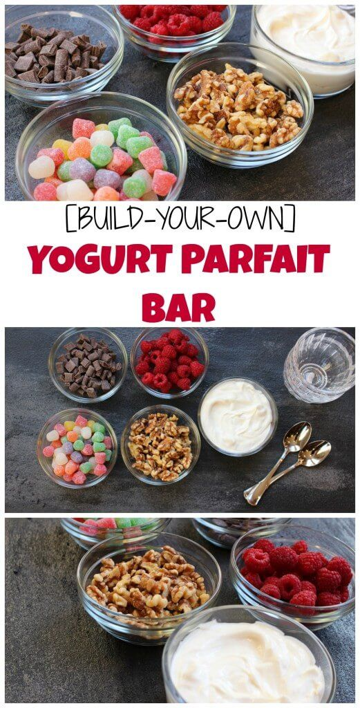 A build your own yogurt parfait bar is the perfect dessert for any holiday celebration or special event you might be hosting. Yogurt is layered between sweet indulgences and healthy treats and the best part is every guest can make their own!