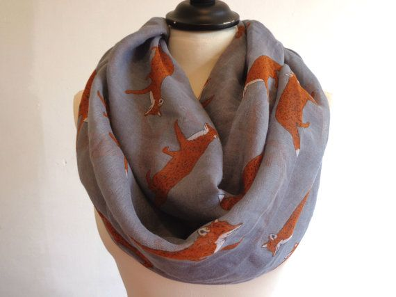 Grey fox infinity scarf. You will love this lightweight infinity scarf.  Great addition to your wardrobe. You can wear this infinity scarf long or