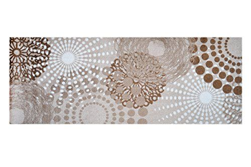 LifeStyle-Mat 100925 Punkte, rutschfester und waschbarer Läufer, ideal für die Garderobe, Küche oder Schlafzimmer, 67 x 170 cm, beige / weiß