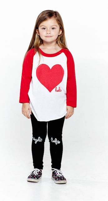 Hello Red Heart Raglan Tee