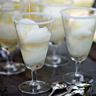 Lime Sorbet Margaritas by health.com: Using lime sorbet creates the frozen margarita taste, but keeps the drink at a lean and mean 186 calories. #Cocktail #Margarita #Light