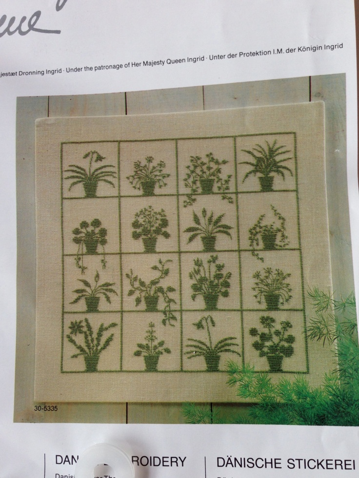 Cross Stitch Wall Hanging Flower Pots Kit by Haandarbejdets Fremme 34 x 34cm (13 3/8 x 13 3/8 inches). $15.00, via Etsy.