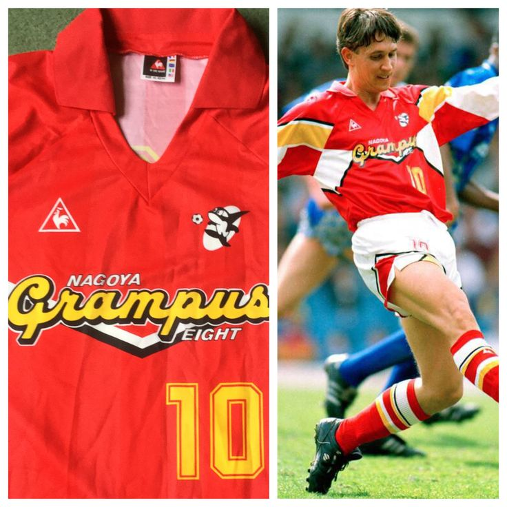 Nagoya Grampus Eight shirt as worn by Gary Lineler 1992/93 £59.99 on website www.classicfootballshirtscouk.com