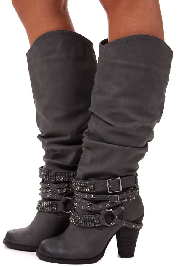 Lime Lush Boutique - Grey Tall Strappy Studded Boot, $84.99 (http://www.limelush.com/grey-tall-strappy-studded-boot/)