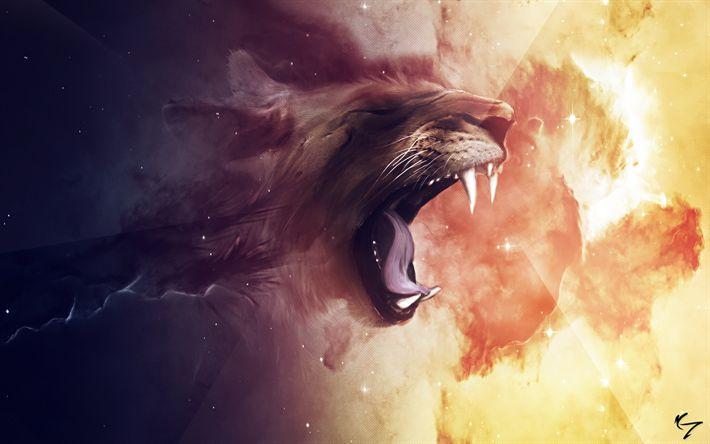 Download Wallpapers Lion Nebula Digital Art Predators Besthqwallpapers Com O Que E Arte Digital Arte Do Leao Leao Papel De Parede