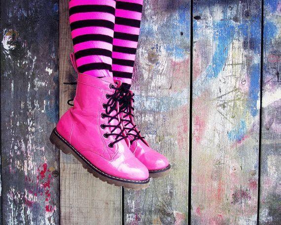 Teen Photography Pink Boots Girls Pink Black Stripes Graffiti Modern Home Decor 10x8 Print Chillin'..