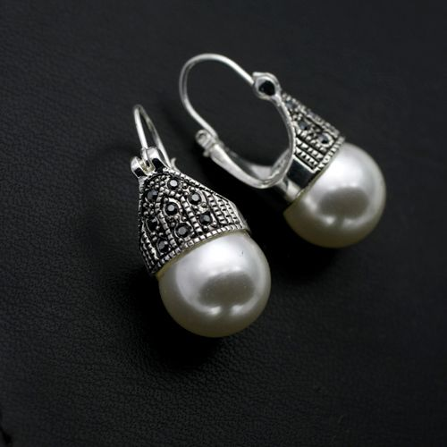 Free Shipping ITALINA Rigant  Fashion Jewelry wholesale white gold plated Crystal Imitation Pearl Earrings Gift