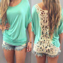 Stylish Scoop Collar Dolman Sleeve Cut Out Crochet Women's T-Shirt
