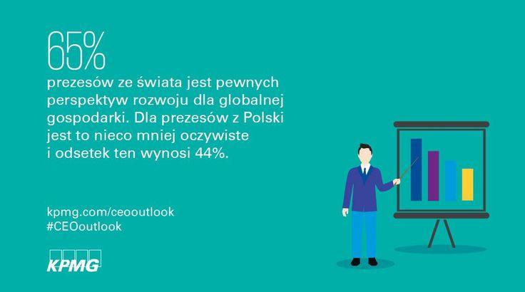2017 Global CEO Outlook →  | 65% prezesów ze świata jest pewnych perspektyw rozwoju dla globalnej gospodarki. Dla prezesów z Polski odsetek ten wynosi 44%.