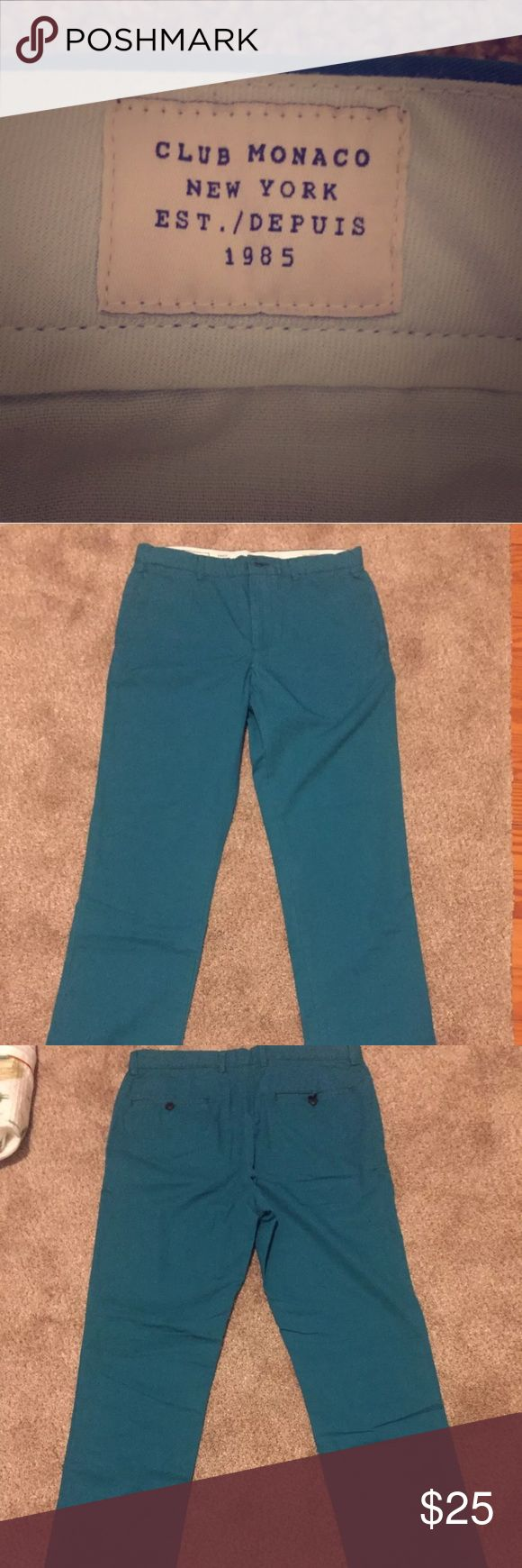 Club Monaco men's slim fit Chino Khakis Club Monaco 100% cotton slim fit green flat front chino khakis 30x32. These pants are in amazing condition and have only been worn a few times. There are no stains, rips, or any signs of wear at all. These could pass for brand new. Super comfortable as well Club Monaco Pants Chinos & Khakis