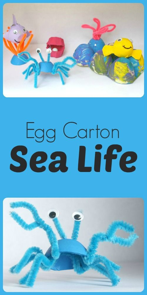 Egg Carton Sea Life...use egg cartons to create a coral reef and sea life for pretend play! Cute for an ocean theme! Summer!