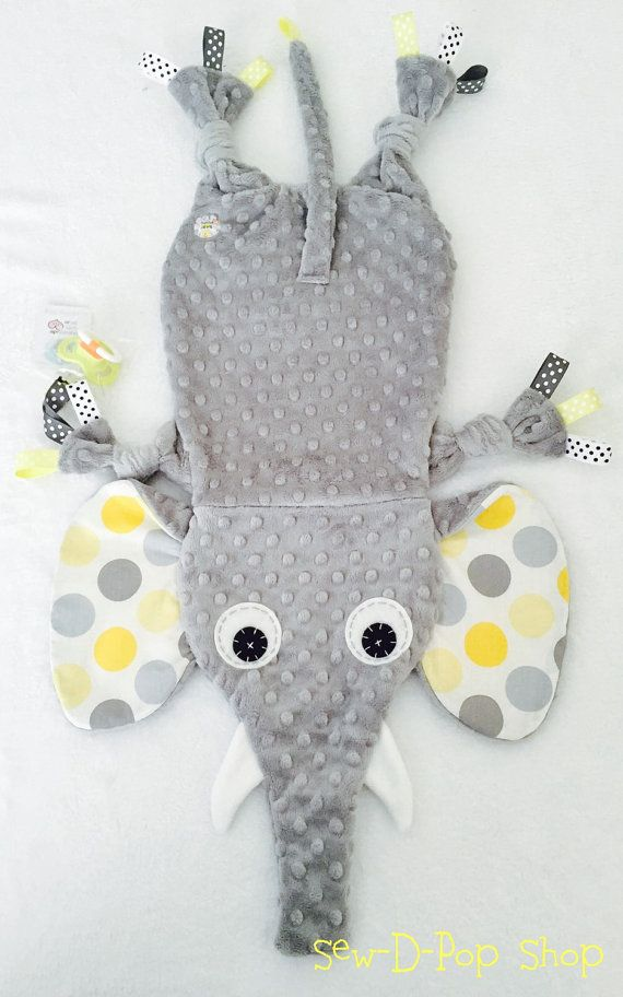 Neutral Baby Tag Blanket Elephant Toy Pacifier by SewDPopShop