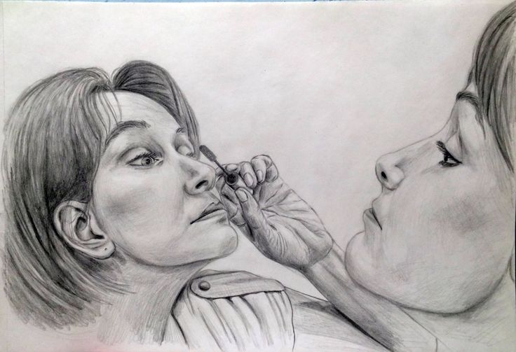 In the mirror. Pencil A4 size drawing.