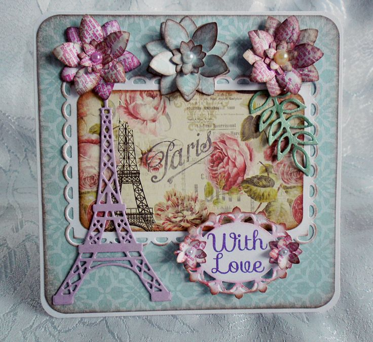 """With Love from Paris"" card by Di Anna Shopova Art. Paper: Dovecraft Sweet Paris , Die : Craftables Marianne Design Eiffel Tower CR1220"