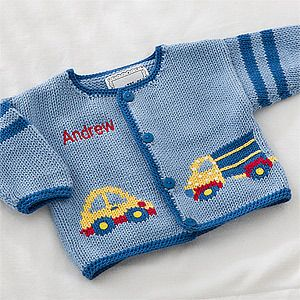 Personalization Mall Personalized Baby Sweaters for Boys - Cars, Trucks & Airplanes